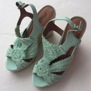 a68644bd8a6 Lucky Brand Shoes - Lucky brand ridgeview mint green crocheted wedges